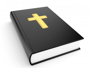 The sacred book the bible on a white background